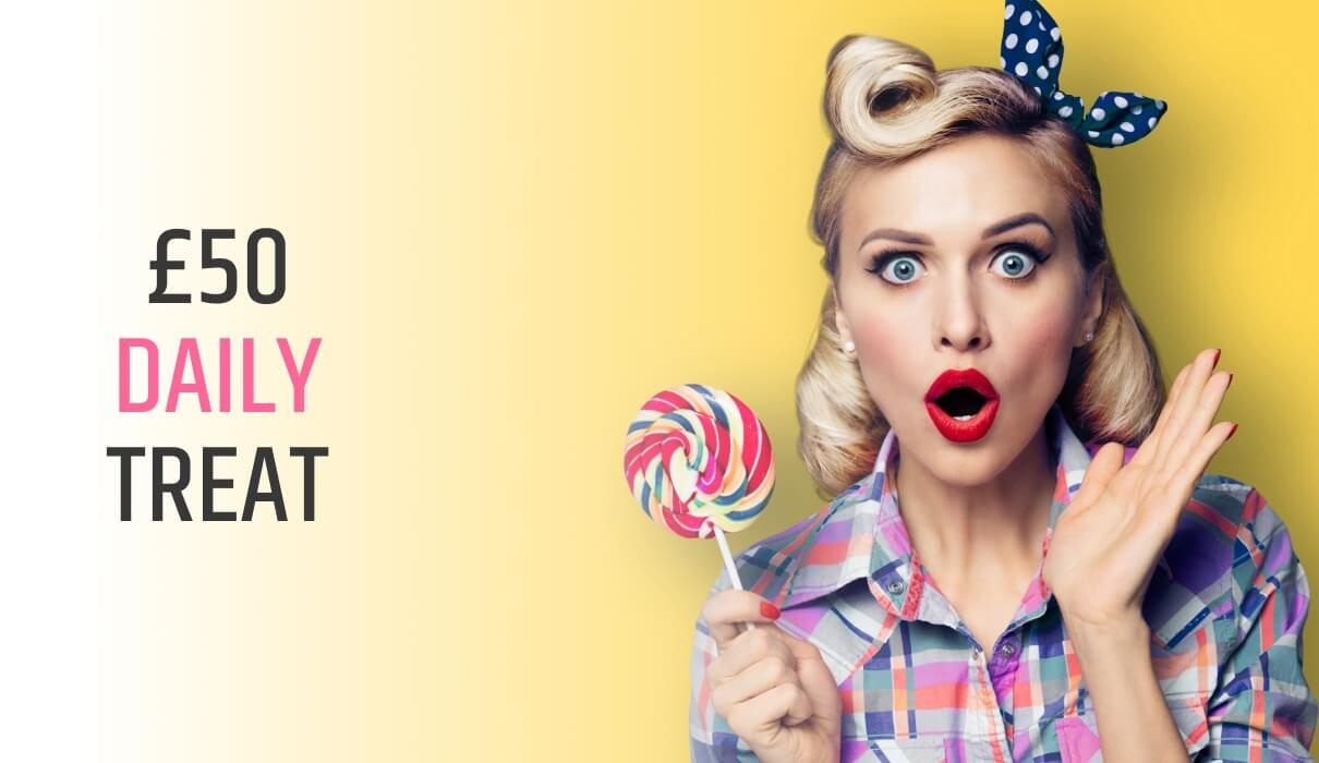 We're giving away £50 EVERY DAY at 8pm in our new: £50 Daily Treat room! Free Bingo Room at Pink Ribbon Bingo.